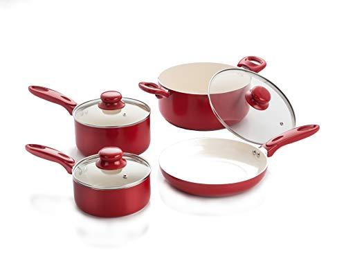 - 7 Piece Aluminum Cookware Set w/ Ceramic Nonstick coating