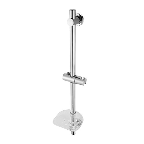 HOMESHOW Stainless Steel Shower Bar Wall Mounted Adjusted Slide Bar with Soap Basket P011200 80%OFF