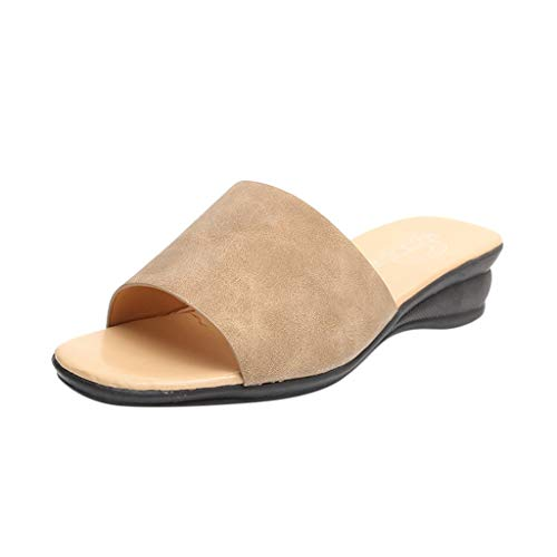 FAPIZI Womens Retro Peep Toe Sandals Summer Fashion Wedges Slippers Casual Shoes Slipper Indoor & Outdoor Flip-Flops Yellow