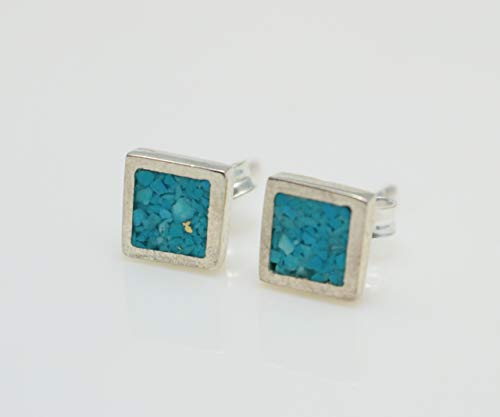 Square Turquoise Mosaic Micro Mosaic Sterling Silver Stud Earrings, Semi Precious Gemstone by Handmade Studio