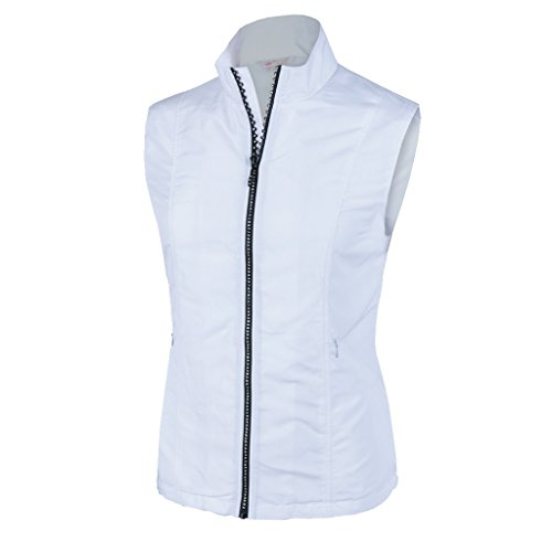Monterey Club Ladies Lightweight Rhinestone Zipper Vest #2788 (White, Large)