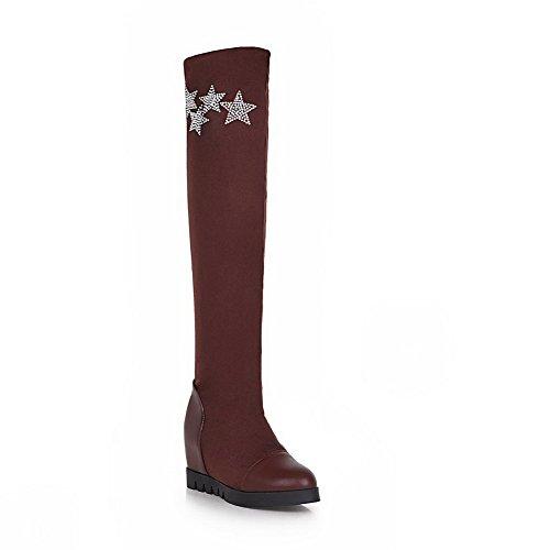AllhqFashion Damen Mittler Absatz Gemischte Farbe Rund Zehe Ziehen auf Stiefel, Schwarz, 40