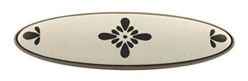Brushed Pewter w/White Ceramic w/Black Drawer Pull Centers: 3