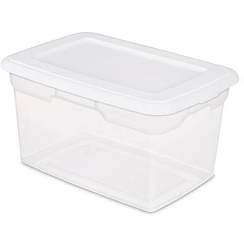 20 Quart Stackable Sterilite Storage Bins, Clear Box with White Lid. Ideal for closets, kids toys, clothing, pet supplies or anything that needs a container, Pack of 6