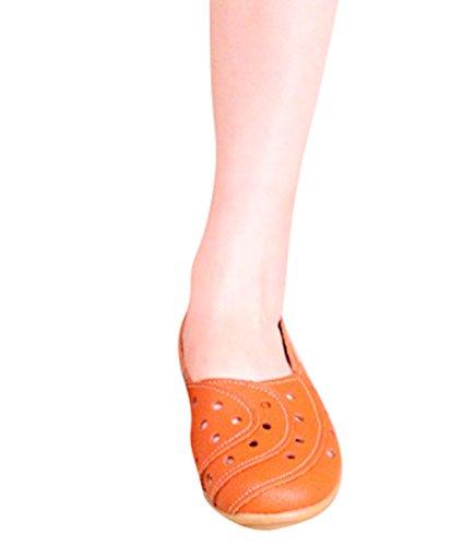 YAANCUN Mujeres Retro Hueco Conducción Coche Zapatos Casuales Comodidad Cuero Mocasín Pisos Naranja