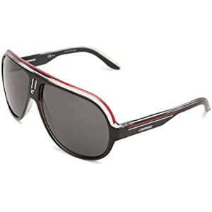 Carrera Speedway/S Polarized Navigator Sunglasses,Black Crystal, White & Red Frame/Grey Polarized Lens,One Size