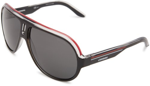 Carrera Speedway/S Polarized Navigator Sunglasses,Black Crystal, White & Red Frame/Grey Polarized Lens,One - Carrera Sunglasses Sport