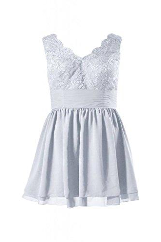 Daisyformals Courte Taille Plus Dentelle Robe De Bal Robe De Retour À La Maison V-cou (bm29035p) # 57 Argent