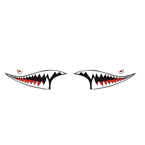 Baoblaze Brand New Durable 2Pcs Waterproof DIY Shark Teeth Mouth Vinyl Car Sticker - Skirts Shark Side