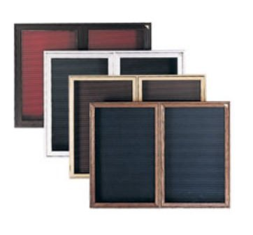 Ghent 36'' x 24'' 1 Door Enclosed Flannel Letter Board, Burgundy Letter Panel, Cherry Finish (PWC13624B-BG)