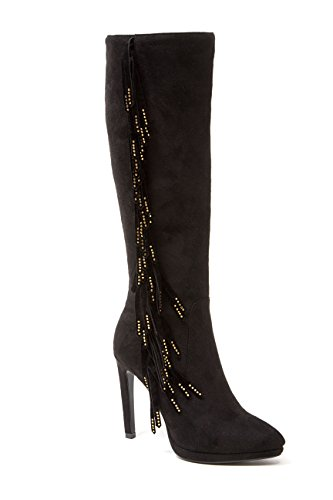 Mircosuede Fringe Hak Dames Knie Lengte Laarzen Door Lady Couture Sydney Zwart
