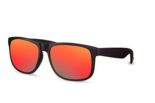 67455f75b36e54 Lunettes de soleil Cheapass Sportives Wayfarer Noires mates Rouges Verres  Revo Miroités UV400 ...