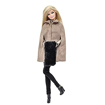 Elenpriv FAO-007 Poloneck top + Brown Faux Suede Cape + Round Scarf + Black Leggins Full Outfit for 11 1/2 inches Doll Clothes Outfit Fashions for Dolls: Toys & Games