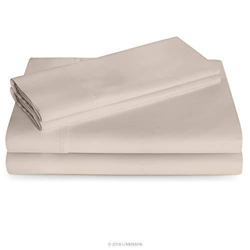 Linenspa 600 Thread Count Ultra Soft Cotton Blend Pillowcases, Set of 2 - Queen - Sand