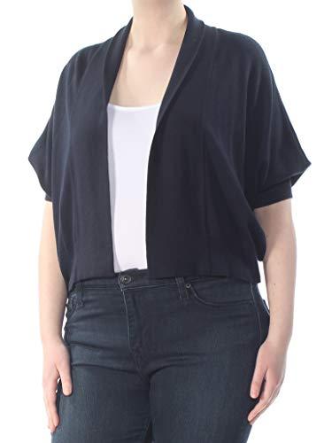 DKNY Womens Ribbed Trim Batwing, Dolman Cardigan Sweater Navy XL ()