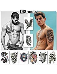 8 Sheets Temporary Tattoos for Guys for Men - Fake Tattoo, Biker Tattoos, Rocker Stickers for Arms Shoulders Chest & Back -...