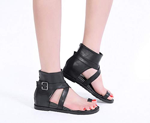 Cintura Estate Comodi Romano in Stile High Top Nero Pendenza Colore 39 con Sandali della Dimensioni Fibbia Scarpe w0wUHx1q
