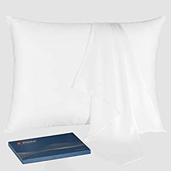 J JIMOO Natural Slip Silk Pillowcase,for Hair and Skin with Hidden Zipper,22 Momme,600 Thread Count 100% Mulberry Silk (Standard 20''×26'', White, 1 Piece)
