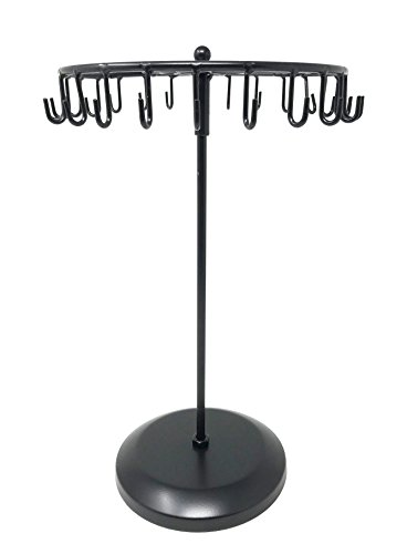 Stand Display Necklace - Bejeweled Display® Black Color 24 Hooks Rotating Necklace holer/Jewelry Organizer Display Stand w/ Gift Box