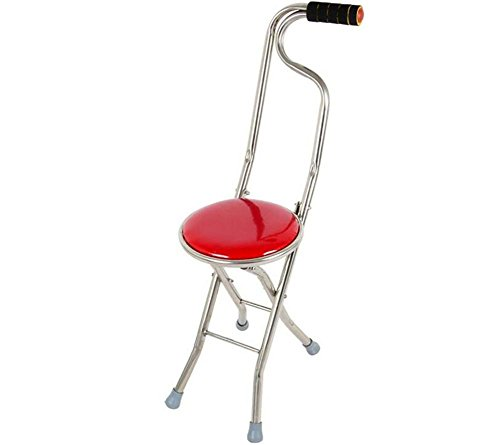 Canes Adjustable Walking Crutches Folding Travel Cane Walking Stick Seat Camp Stool Chair hiking stick cane(Red)