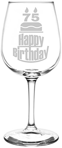 (75th) Three Tier Happy Birthday Cake Inspired – Laser Engraved 12.75oz Libbey All-Purpose Wine Taster Glass For Sale