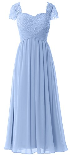 MACloth Women Cap Sleeves Mother of Bride Dress Lace Chiffon Evening Formal Gown Cielo azul