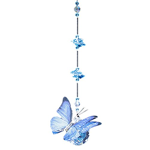 (Blue Morpho Butterfly Figurine with 30mm Crystal Ball Bead - Rainbow Maker - Crystal Suncatcher - Home, Living Room, Bedroom, Kitchen, Car Decoration - Porch Decor - Sun Catcher - Hangings Crystal Glass Ornament)