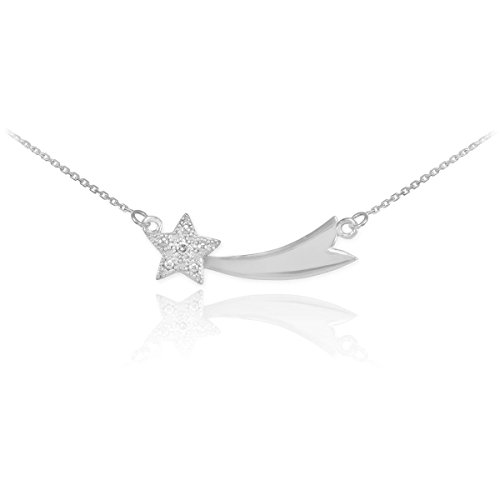 925 Sterling Silver CZ-Studded Shooting Star Pendant Necklace