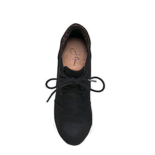 J. Adams Wedge Stiefelette - Low Heel Bootie - Lässige bequeme Schnür-Ferse - Fashion Short Heeled Damen Bootie Schwarzer Imsu