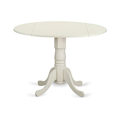 (East West Furniture DLT-WHI-TP Round Table with Two 9-Inch Drop Leaves)
