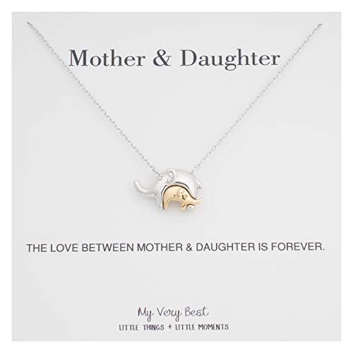 My Very Best Baby in Mother's Embrace Elephant Necklace (Gold Plated Baby & Silver Plated Mother)