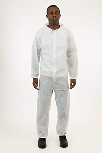 International Enviroguard White SMS Coverall, Elastic Wrist & Ankle, 25 - Jumpsuit Crawl Space