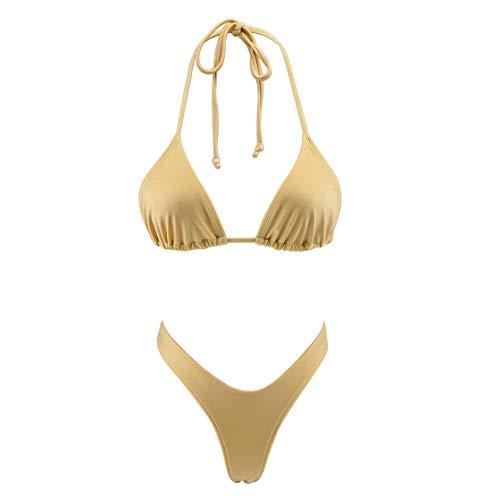 (SHERRYLO Bikini Set High Cut T Back Thong Swimwear Women's Swimwear Triangle Top Bathing Suit (L,)