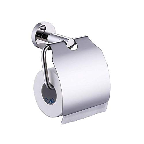 KES A2170 Stainless Steel Toilet Paper Holder Single Roll with Cover, Polished SUS304 Stainless Steel ()