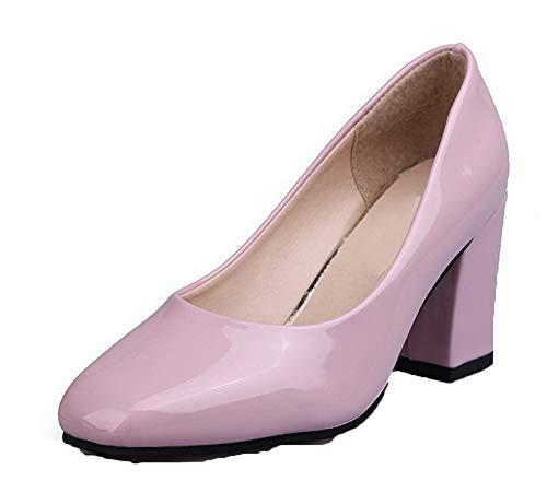 Chaussures Talon Aalardom Légeres Tsfdh003371 Unie Couleur Fermeture Haut Rose À D'orteil Femme RwwA8