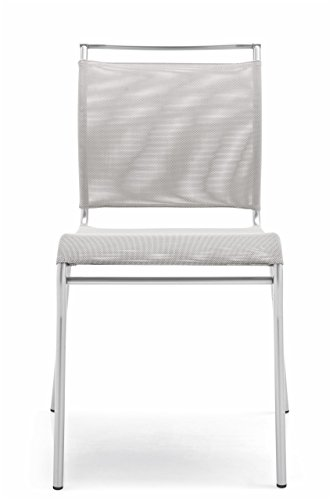Calligaris Fabric Chair - Connubia Air Chair - Stained Satin Finish Steel Frame - Synthetic Fabric Net Seat - Grey