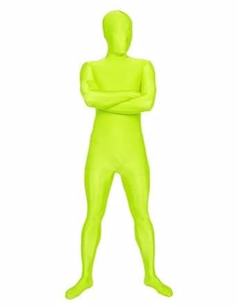 SecondSkin Men's Full Body Spandex/Lycra Suit, Highlighter, X-Small