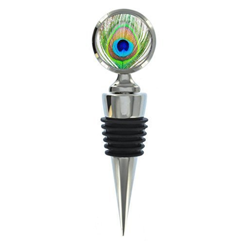 Peacock Feather Image Metal Wine Bottle Stopper