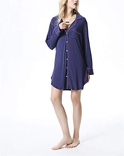 red Hebilla Underdress Dormir Cardigan Solapa Delantera Blue De Vestido Chemise Modal Vintage Ropa Señoras Caliente Ovejas Noche Camisón 6qwBT6