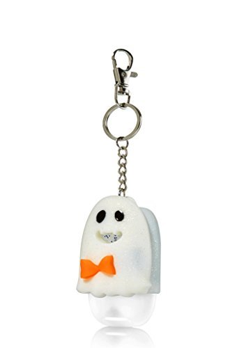Bath and Body Works - Halloween Friendly Ghost Pocketbac Holder Keychain - Glow in the Dark LED Light-up - Holds any new style Bath & Body Works 1.0 fl oz anti-bacterial hand sanitizer pocketbac gel -