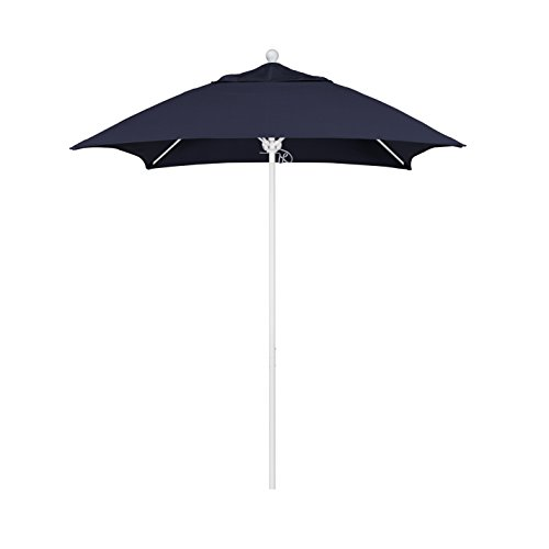 - California Umbrella Aluminum/Fiberglass Push Open, White Pole and Sunbrella Navy Umbrella, 6' Square