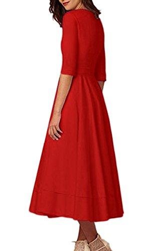 Sleeve Maxi Pleated Dress Red V Elegant Cocktail 4 YMING Vintage Women's Neck Deep 3 Dress F7tWvq