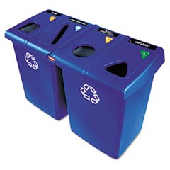 (3 Pack Value Bundle) RCP1792372 Glutton Recycling Station, Rectangular, Plastic, 92 gal, Blue by RCP1792372 (Image #2)