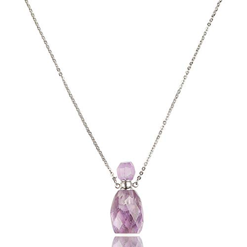 Purple Faceted Crystal Point w// Gemstone Chip Silver Amethyst Necklace Pendant