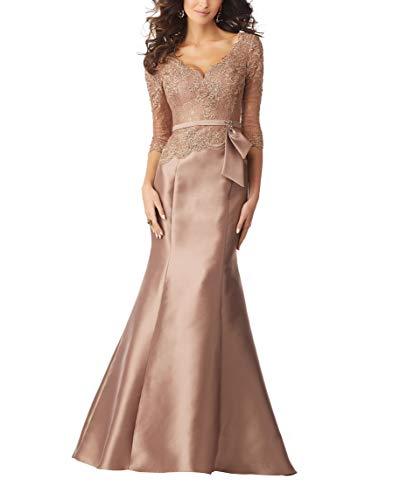 MythLove Women's Mother of The Bride Dress Long Trumpet Satin V-Neck 3/4 Sleeves Illusion Neck Bodice Formal Prom Dress Goldrose 14 - Neck Dress Satin Sheath