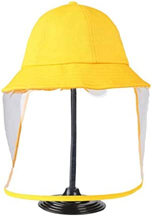 MALY Gorra bebés contra niños, Little Yellow Sombrero Gorro de Ducha mamá Protección Sin Fugas para Evitar Que Las Gotas contra los Rayos UV Niebla Cubierta de la Cara,Amarillo,56cm