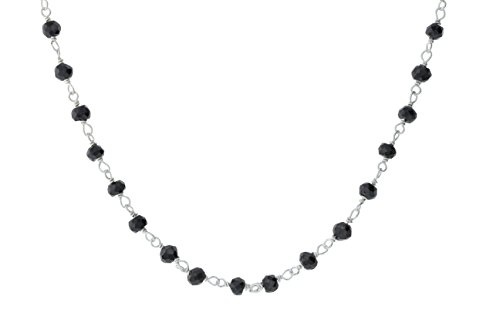 Sterling Silver Wire Natural Black Spinel Gemstone Bead Chain Stone Link Handmade Rosary Necklace 18 Inches (Necklace Black Spinel Bead)