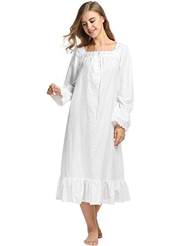 Pure Cotton Sleepshirt (eshion Women Cotton Long Sleeve Short/Long Lingerie Dress Nightgown Shift Pure Color Sleepwear Nightwear)