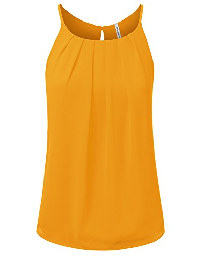 JJ Perfection Women's Round Neck Front Pleated Chiffon Tank Top Mustard - Mustard Chiffon