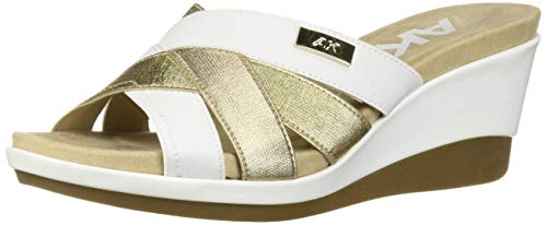 Anne Klein Women's Pilot Slip ON Wedge SNADAL Sandal, White 8 M US (Klein Slides Anne)